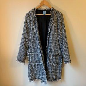 CeCe Frayed Edge Tweed Long Jacket